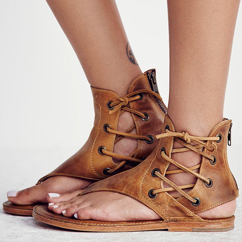 Women Sandals Vintage Summer Women Shoes Gladiator Sandals Flip-Flops For Women <font><b>Beach</b></font> Shoes Leather Flat Sandalias Mujer