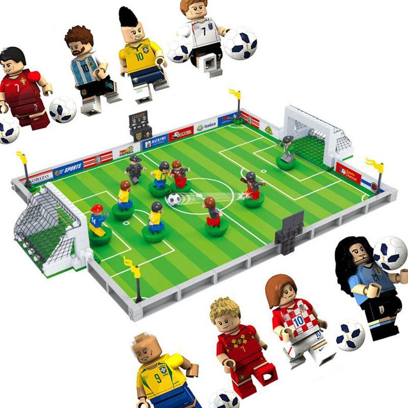 New world soccer City Football Field fit legoings Soccer figures city Model Building Bricks Blocks diy Toys gift kid winning cup