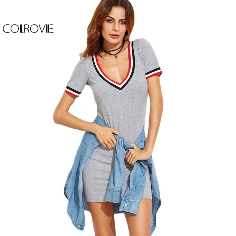 COLROVIE Striped Trim Grey Casual Tee Dress 2017 Basic Short Sleeve Women V Neck Sexy Summer Dresses Brief Mini Bodycon Dress