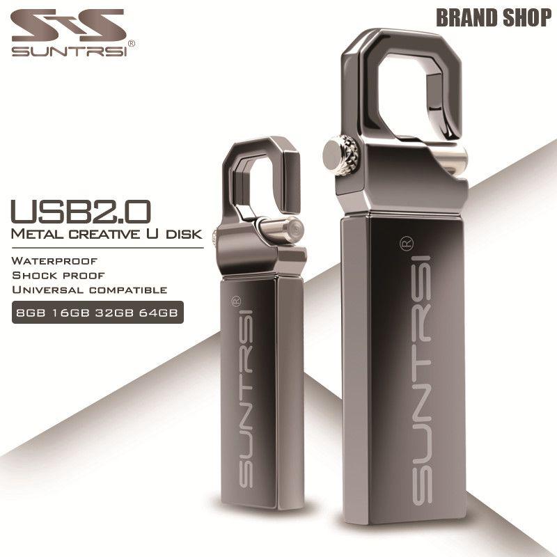 Suntrsi Metal USB Flash Drive 64GB Stain Steel Pendrive Waterproof High Speed Pen Drive 4GB 8GB 16GB 32GB USB Stick Flash Drive