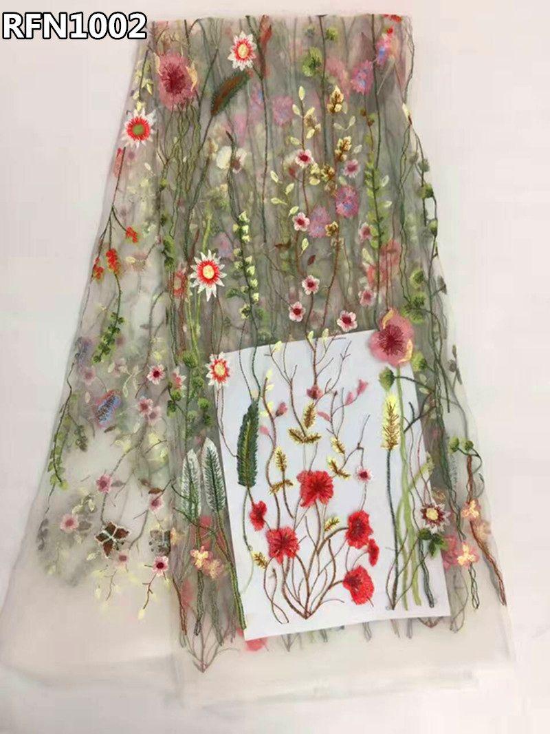Africain tissu en dentelle 2017 fleurs brodé tulle tissu blanc français net dentelle tissus Nigérians pour robes de mariage RFN1