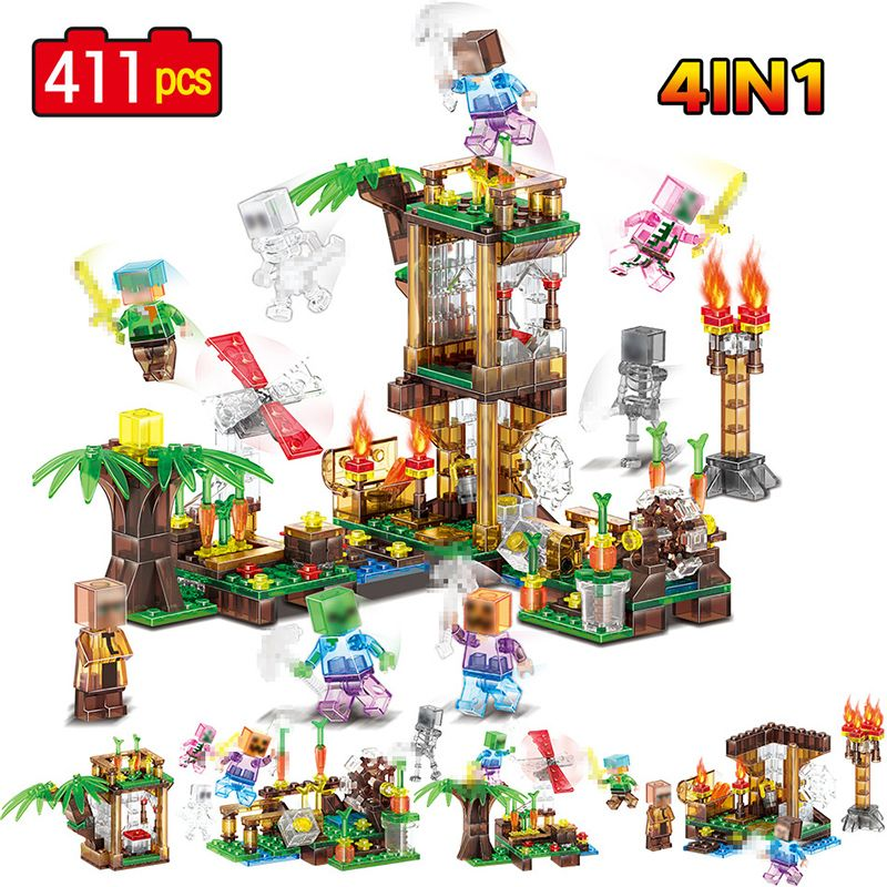 4 In 1 Crystal Building Blocks Compatible LegoINGLYS Minecrafted Fire House Windmill Zombie Pumpkin Man Figure set Bricks Toys