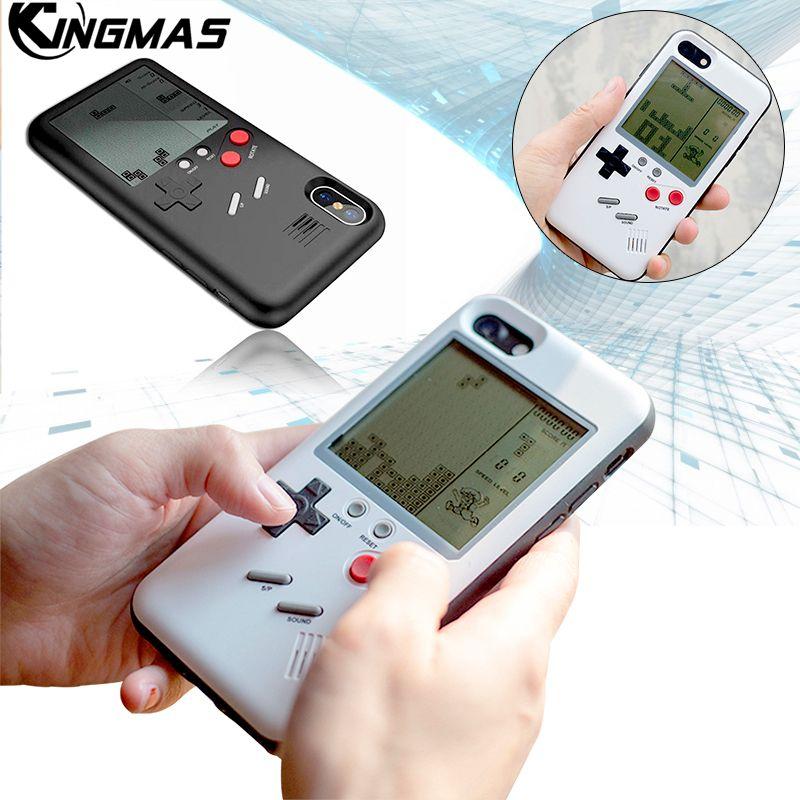 Rétro Nintendo Jouer Tetris GameBoy Téléphone Cas Pour iPhone X iPhone 6 6 s Plus 7 8 Plus game boy TPU shell couverture cadeau pour enfant
