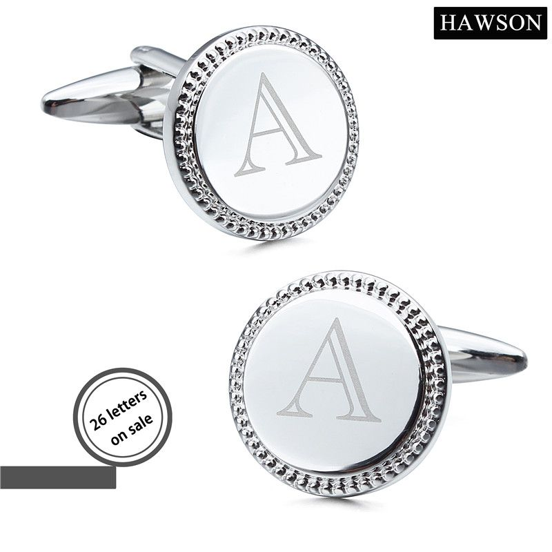 Hawson серебряные украшения Цвет Лазерная алфавита запонки 26 букв мужские пользовательские запонки круглые Форма и пуговицы