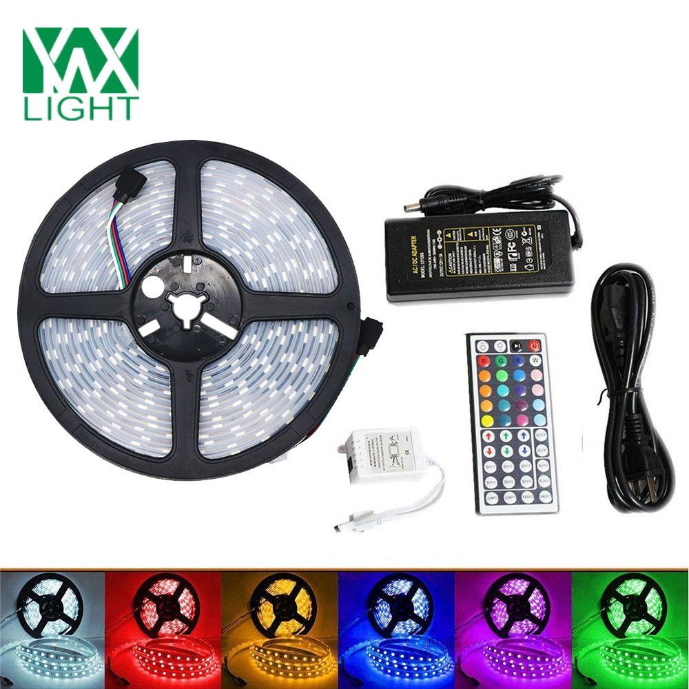 5M Flexible LED Light Strips 5050 SMD IP 67 Waterproof RGB 72W LED Light Strip 44 Keys Remote Control 5A Adapter EU PLUG
