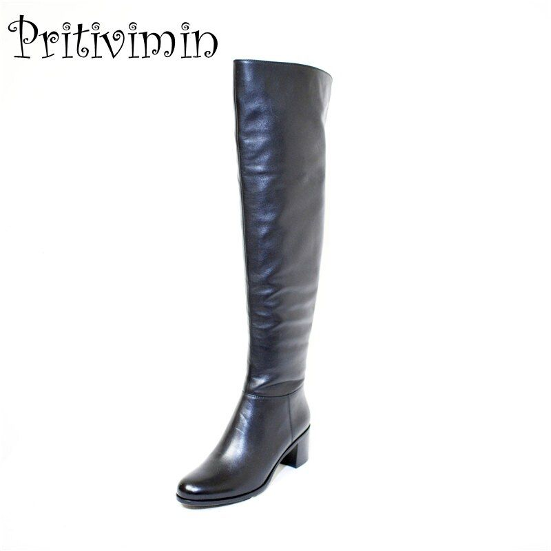 Pritivimin FN81 winter warm women real wool fur lined shoes Ladies genuine leather high boot girl fashion over-the-knee boots