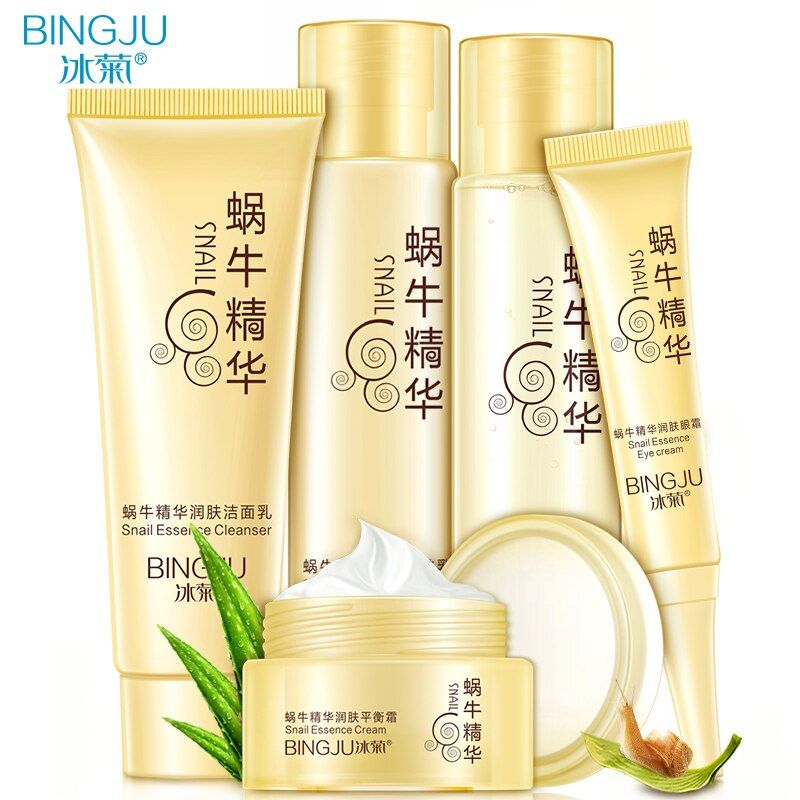 BINGJU 5 pcs Snail Face Skin Care Set Day Cream Essence Eye Cream Anti Aging Repair Whitening Moisture Nursing Facial Snail Set