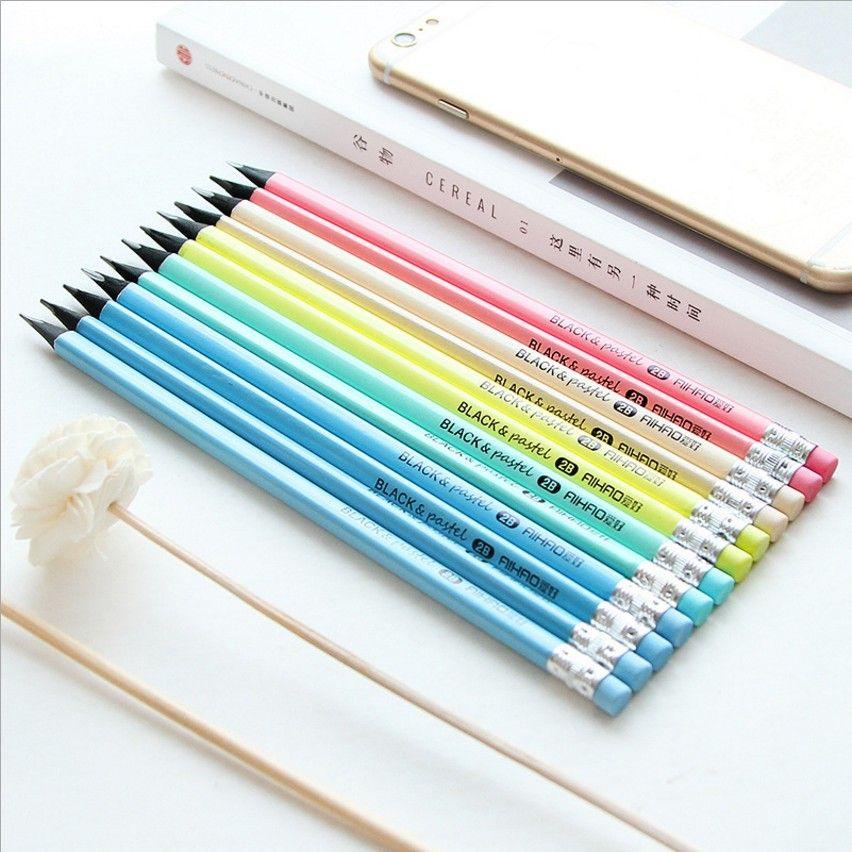 AIHAO 24 pcs 2 ensembles HB/2B Standard Couleurs Crayons (avec gomme), porte-plume Triangulaire, noir bois, L'écriture ou dessin IN02