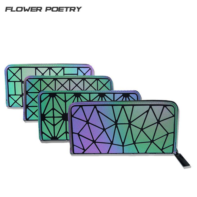 Women Long BaoBao Wallet Geometric Luminous Female Min Clutch Bags Multifunction Bao Bao Wallet Purse Card Holder