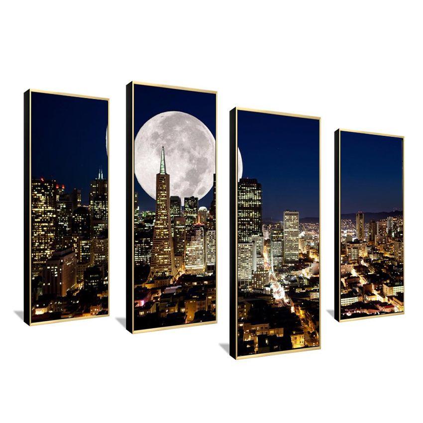 Mode HD Grande Toile peinture 4 Panneaux Home Decor Wall Art Photo Prints de NewYork city night voir Illustration F121
