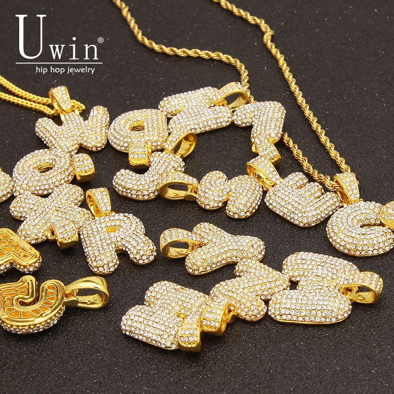 UWIN De Bulle Personnalisé Lettres Nom Pendentif glacé Or Argent Rose Strass Hip Hop Colliers Bijoux Cadeau Drop Shipping