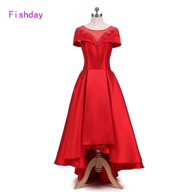 Elegante Frauen Vordere Kurze Zurück Lange Red Ballkleid Abendkleid 2018 damen formale Libanon Ashi Plus Größe Vestido de Festa B45