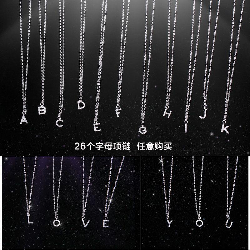 Marque de luxe nouveau 26 lettres collier pendentif réel 925 en argent Sterling incrusté AAAAA cubique Zircon collier pendentif pour les femmes