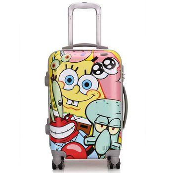 SpongeBob SquarePants Cartoon Child Travel Suitcase ABS+PC Universal Wheels  Women Trolley Luggage Bag 20