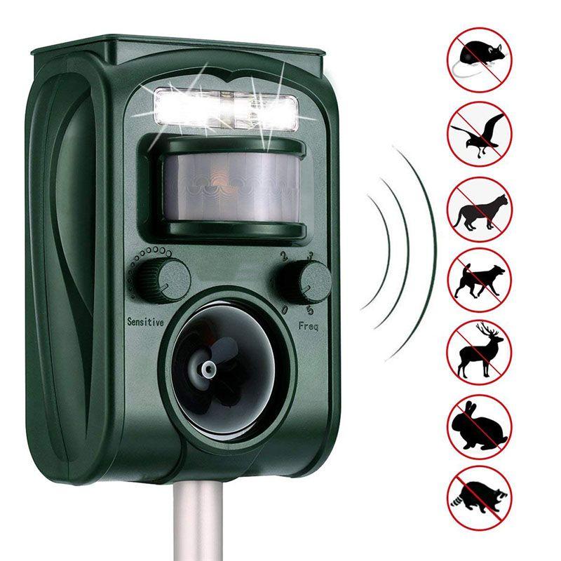 Outdoor Garten Solar Ultra Sound Outdoor Tier Repeller Motion Sensor-Flash-Licht Vogel Hund Katze Waschbären Kaninchen Tier Dispeller