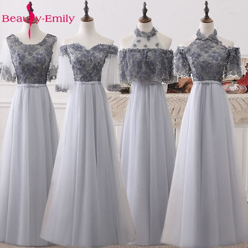 Beauty Emily Long Elegant A-line Grey Evening Dresses 2018 Half Sleeve Appliques Beads Wedding Party Occasion Prom Dresses