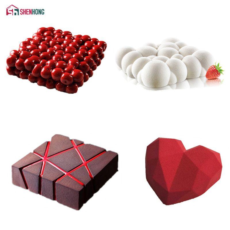 SHENHONG 4PCS/Set Cake Mold For Baking Double Cherry Grid Block Cloud Diamond Heart 3D Silicone Mould Pan Mousse Chocolate Moule