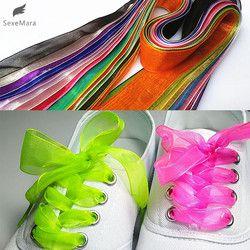 Gootrades Mode 2.5 cm Large Plat Lacets Voile Ruban Lacets Sneaker Sport Chaussures Fantastique
