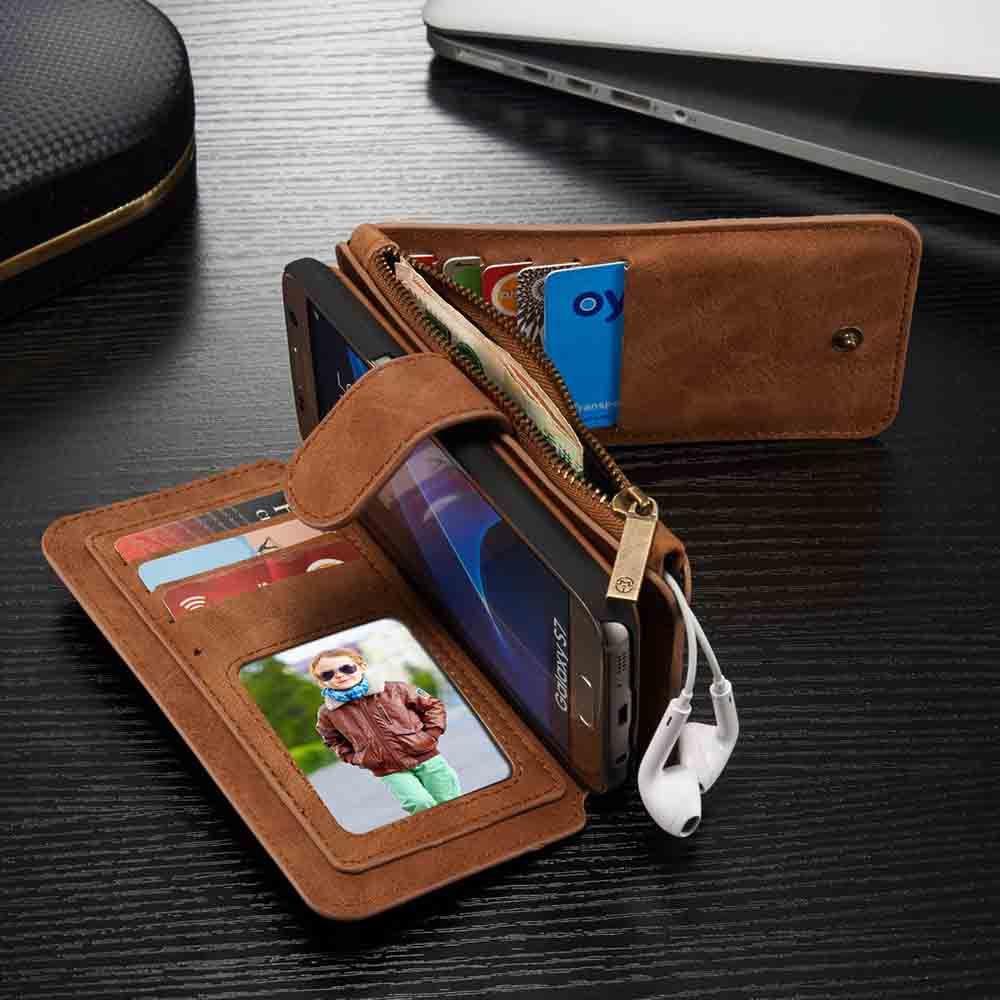 Supérieure De Luxe Étui En Cuir pour Samsung Galaxy S6 Bord Plus Note5 S7 bord S8 Multi Fonctionnelle Flip Portefeuille Couverture Carte titulaire