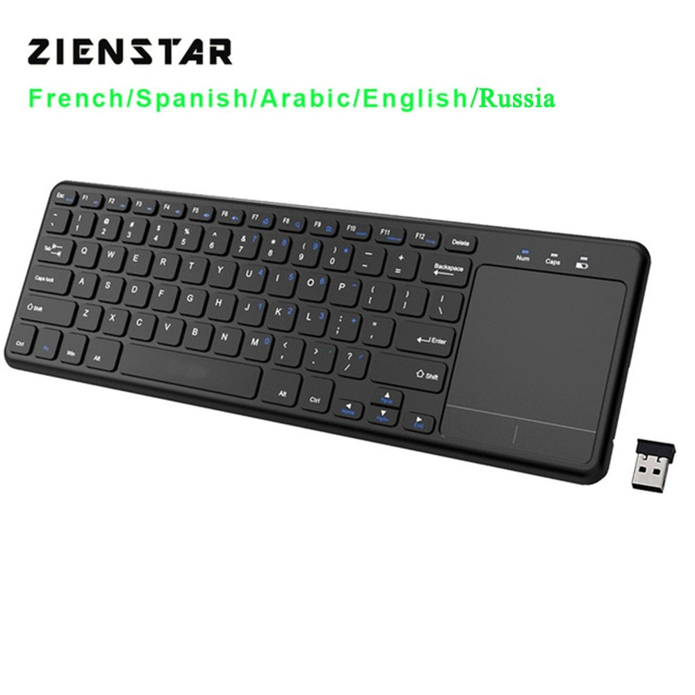 Zienstar 2.4G clavier multimédia sans fil avec pavé tactile pour Windows PC, ordinateur portable, ios pad, Smart TV, HTPC IPTV, Android Box