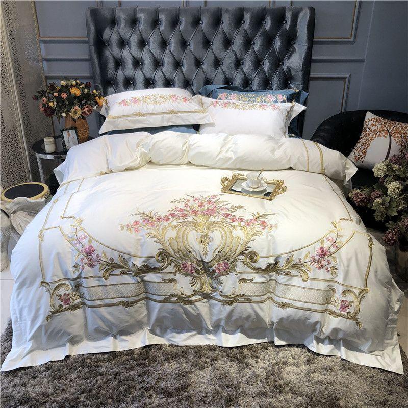 1000TC Egyptain Baumwolle Hohe Grade Premium Bettbezug Weiß Blau Bettwäsche Set Chic Stickerei Luxus Königin könig größe Bett set