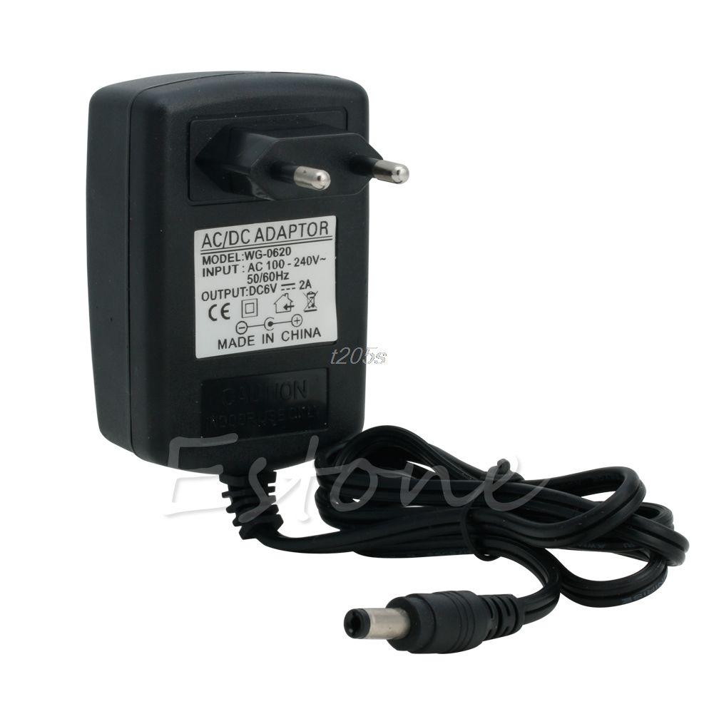 Converter 100-240V to DC 6V 2A Power Adapter Supply Charger EU Plug Black T18 Drop ship