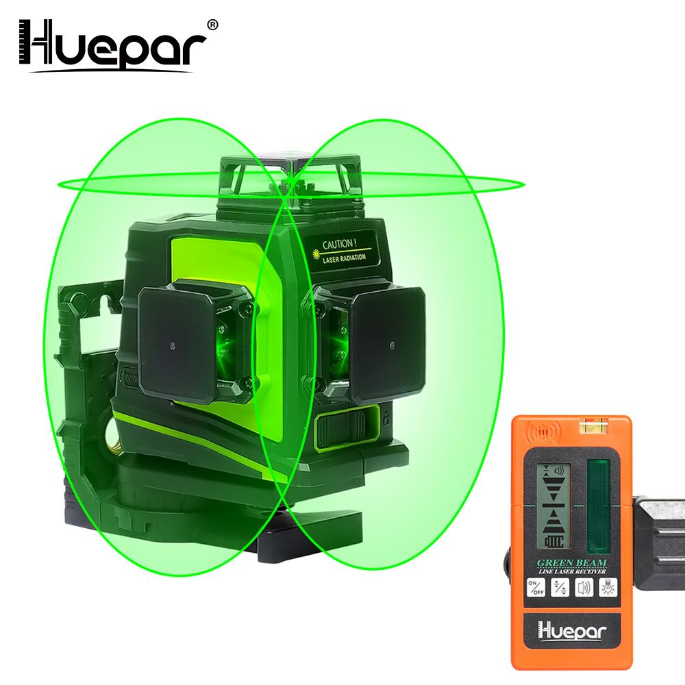 Huepar 12 Lines 3D Green Cross Line Laser Level Self-Leveling 360 Degree Vertical & Horizontal with LCD Receiver USB Charging