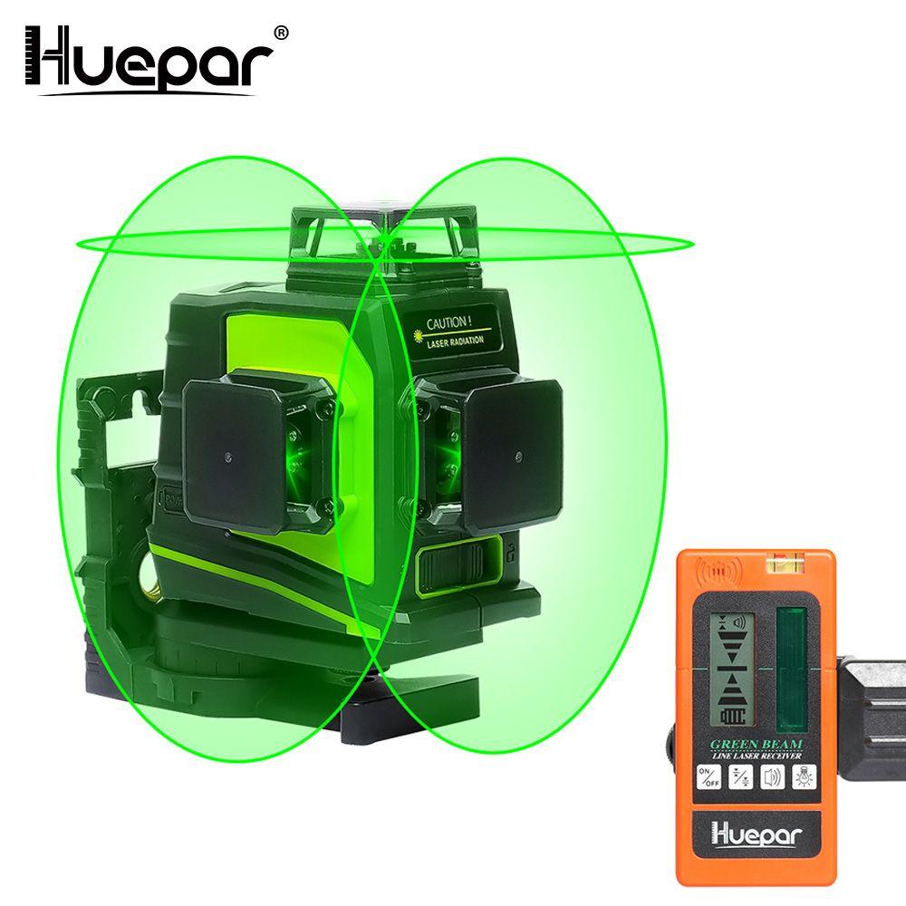 Huepar 12 Lines 3D Green Cross Line Laser Level Self-Leveling 360 Degree Vertical & Horizontal with LCD Receiver USB Charging