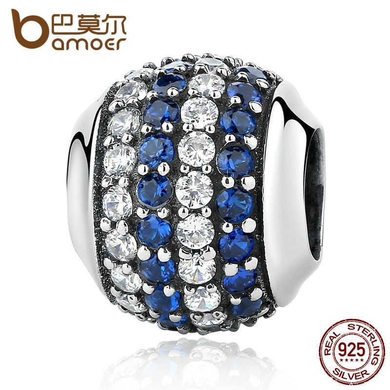 BAMOER Genuine 100% 925 Sterling Silver Blue Coast Charms fit Bracelets Women Beads & Jewelry Makings SCC104