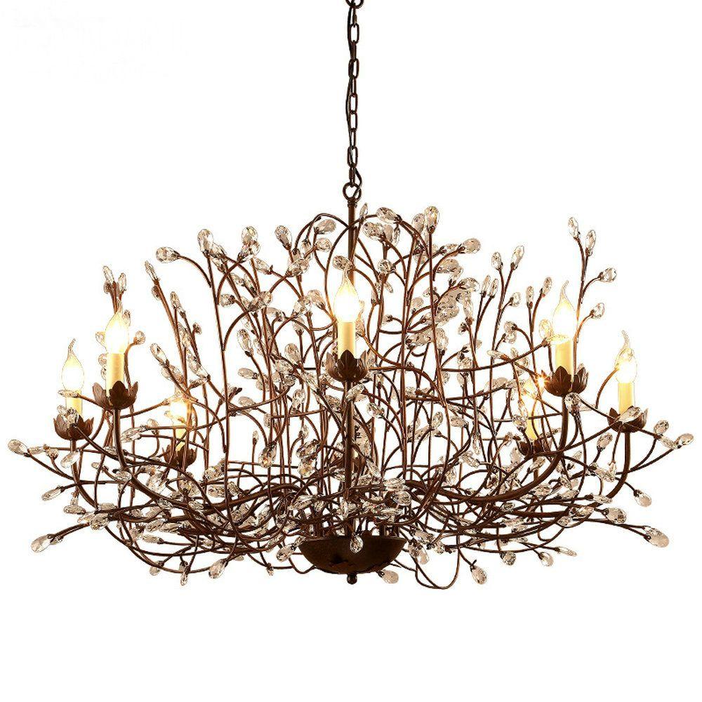 Modern Nordic Crystal Chandelier Lamp Crystal Light Fixture Rustic Chandelier for Dining Room Kitchen E14 6 8 Light Led Lamps