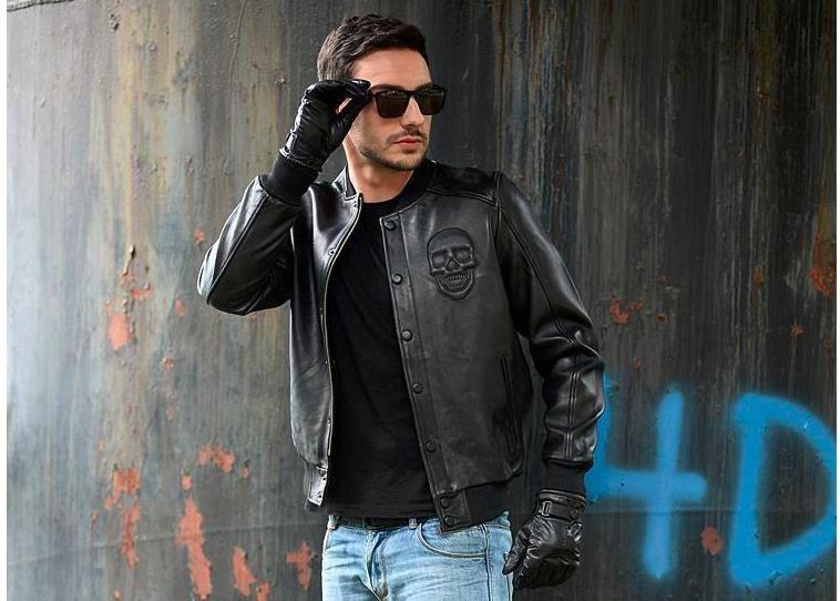 Free shipping.Sales classics quality Sheepskin jackets,men's genuine sheep leather,motorcycle classics biker.Brand cool skull