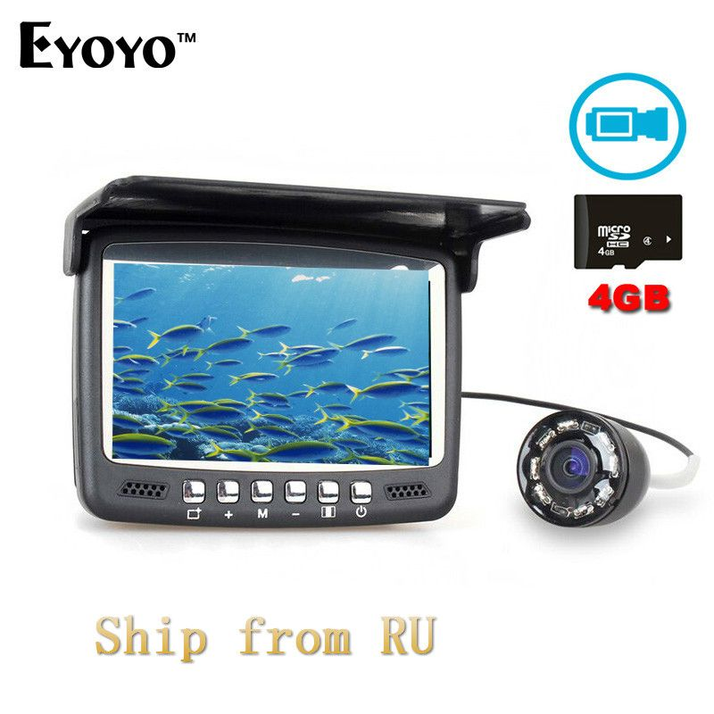 Eyoyo Infrared LED DVR Fish Finder 30M 1000TVL HD Video Recorder with 4GB TF Card Monitor Underwater Camera for Boat Fishing