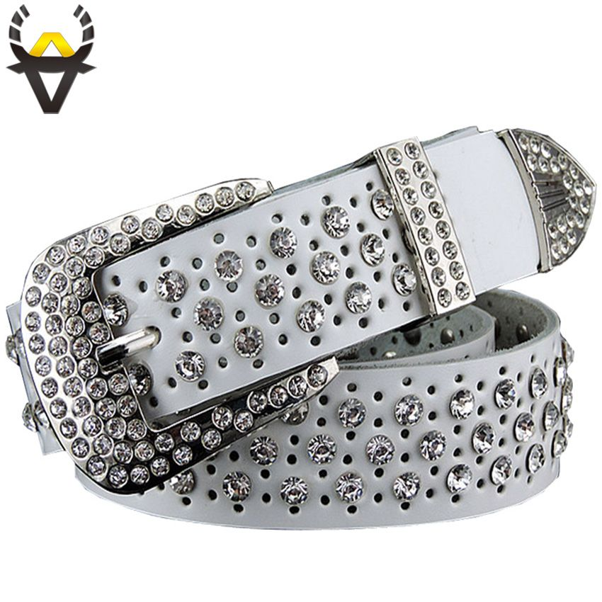 Fashion Rhinestone Genuine leather belts for women Luxury Wide Pin buckle belt woman High quality <font><b>Second</b></font> layer Cowskin strap
