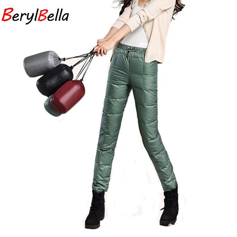 Berylbella 2017 зимняя верхняя одежда женские брюки на утином пуху Повседневная карандаш черный эластичный пояс Теплые; больших размеров Размер П...
