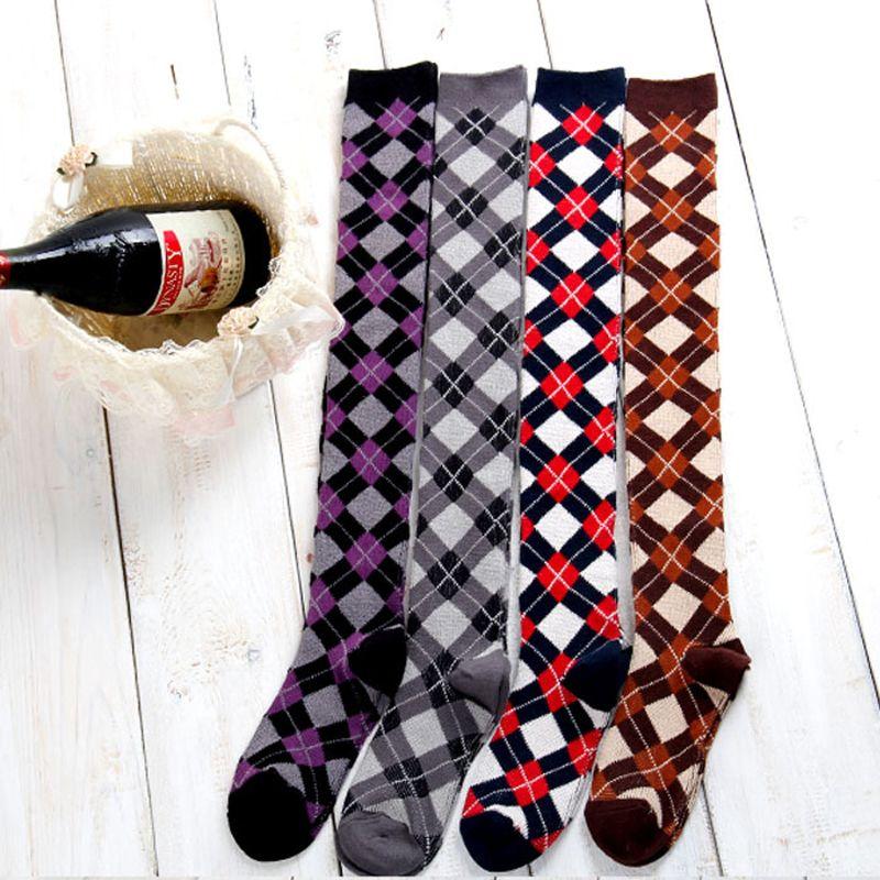 4 couleurs automne et hiver Boutique coton Gaotong chaussettes sur genou chaussettes mode loisirs style britannique cuisse haute femmes chaussettes