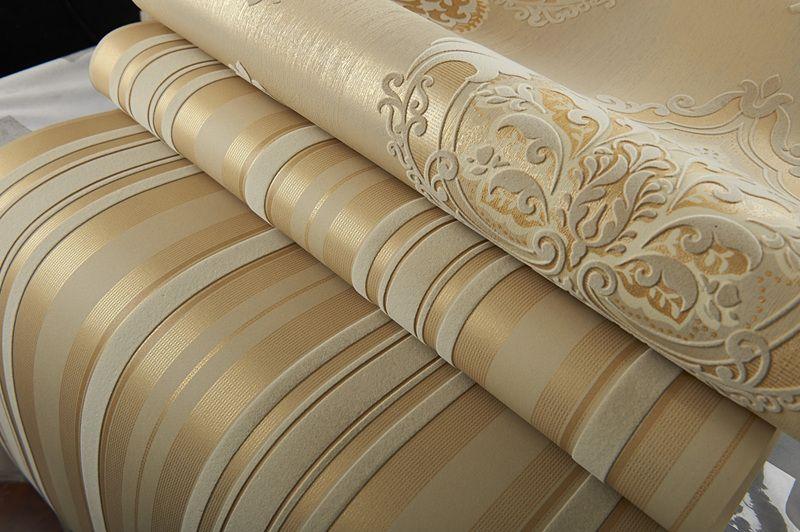 Luxury Champagne Gold Velvet Flocking Vertical Stripes Wallpaper Wallcovering
