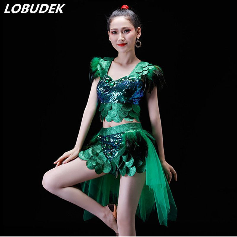 Green Blue Rose Silvery Red Feathers Sequins Top Skirt Female Modern Dance Stage Wear Jazz Performance Costume drum Team Clothes