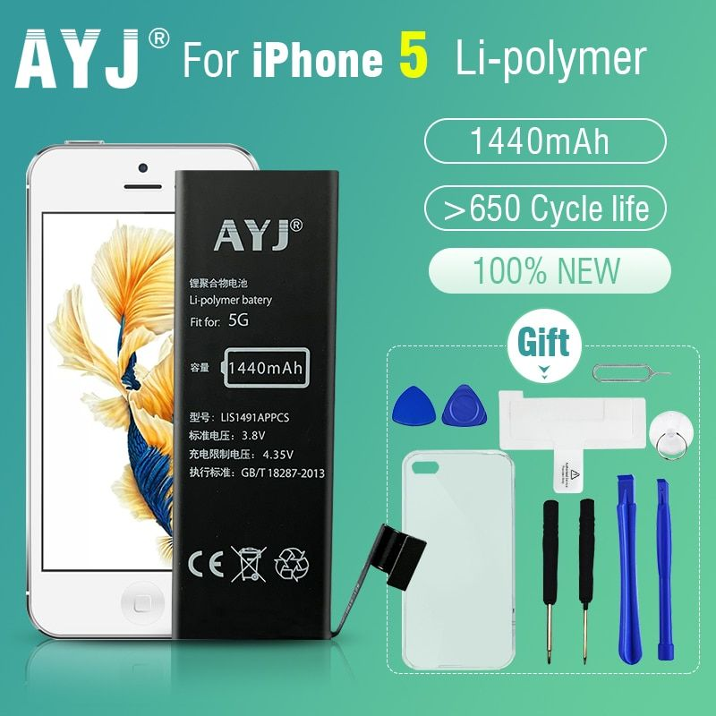 AYJ New Original AAA Quality Phone Battery for iphone 5 5G Durable High Real Capacity 1440mah <font><b>Zero</b></font> Cycel With Repair Tools Kit