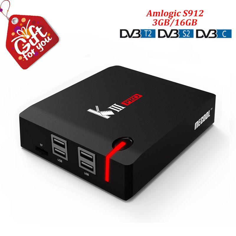Mecool kiii pro Android TV Box Android 7.1 Amlogic S912 Octa-core 3 gb DDR4 Ram 16 gb Rom Dvb-t2 Dvb s2 T2 C Dvb-c Dvbt2 K3 Pro