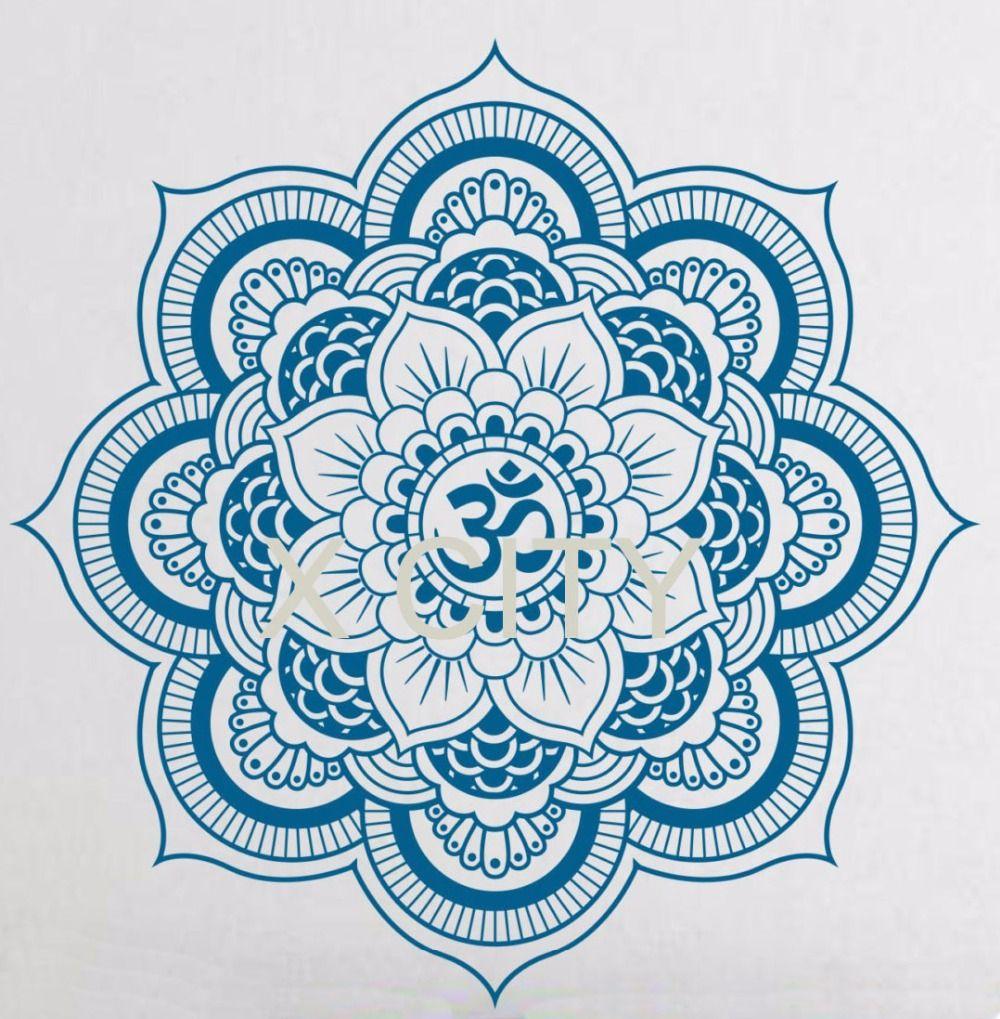 Pinturas Murais grand Mandala vinyle Sticker Mural Yoga autocollant Menhdi Lotus grand motif ornement Om indien Mural décor à la maison