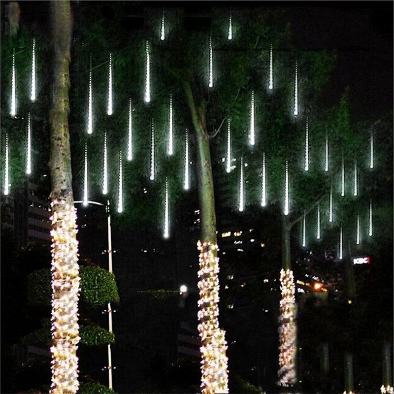Imperméable 3 couleurs EU Plug guirlande 8 Tubes LED météore douche pluie ficelle lumière 50cm 30cm glaçon chute de neige décoration de noël