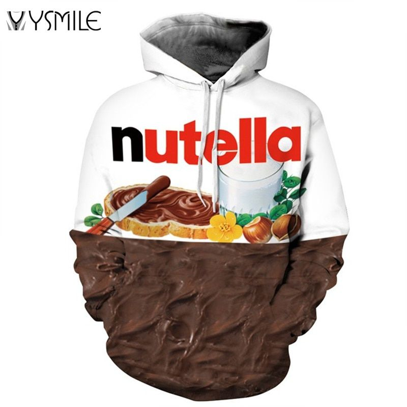2017 Nutella Pattern Men&Women Hoodies Couples Casual Style 3D Print Personality Autumn Winter Sweatshirts Hoody Tracksuits Tops