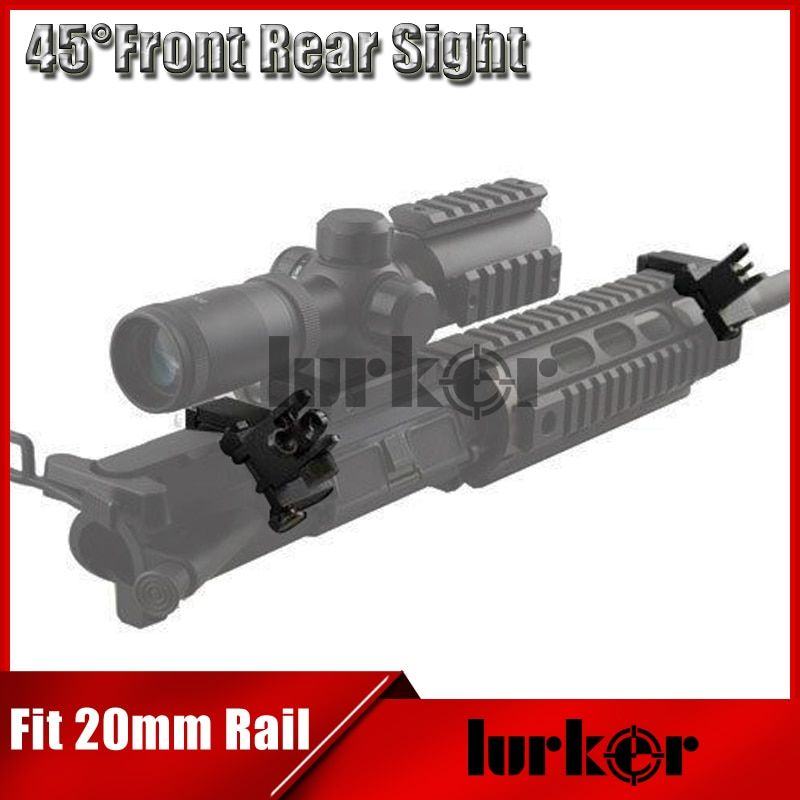 Hunting Tactical AR15 Airsoft Front and Rear flip up 45 Offset Degree Rapid Transition Backup Iron Sight Fit 20mm Picatinny rail