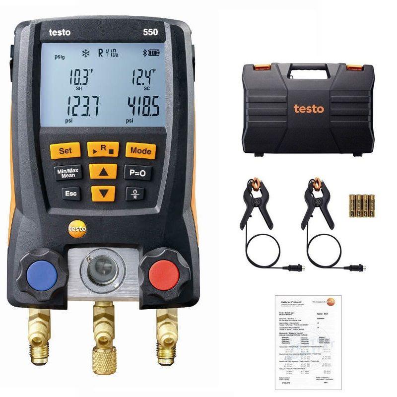 Testo 550 Refrigeration Pressure Gauge Digital Manifold Kit 0563 1550 With 2pcs Clamp Probes Electronic Refrigerant Meter Set
