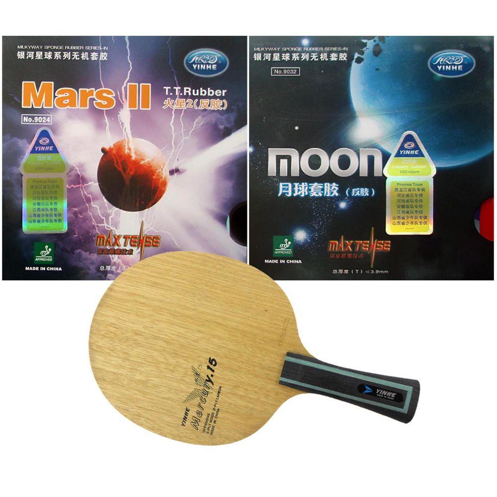 Pro Tischtennis PingPong Combo Schläger Galaxy YINHE Mercury 15 mit Mars II und Mond Fabrik Abgestimmt Gummis Lange Shakehand FL