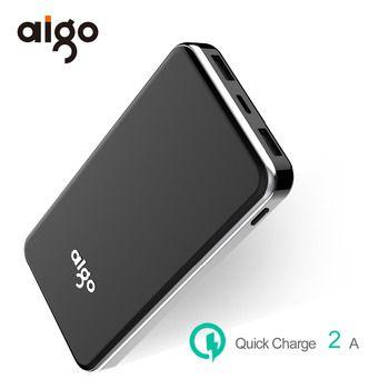 Aigo Запасные Аккумуляторы для телефонов 10000 мАч для Xiaomi двойной входы/выходы Мощность банк Портативный внешний Батарея повербанк для iPhone 6 S 7 ...