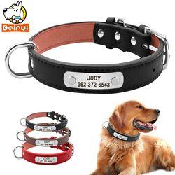 Pu cuero collar de perro acolchado duradero personalizada PET ID Collares personalizado para pequeño mediano grande Perros gato rojo negro marrón