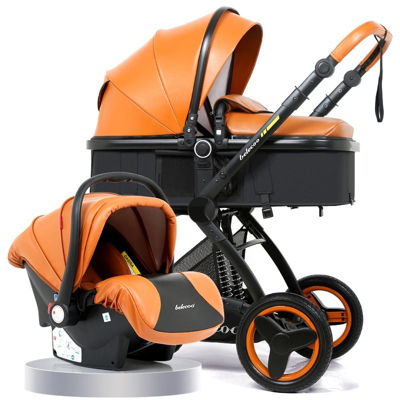 Luxury Baby Stroller 3 in 1 Carrycot Seat 2 in 1 Stroller With Car Seat Baby Carriage High-landscape Pram For Newborns
