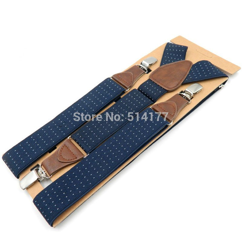 Men's Suspenders 3 clips leather braces adult suspensorio  tirantes hombre father bretelles Grandfather gifts