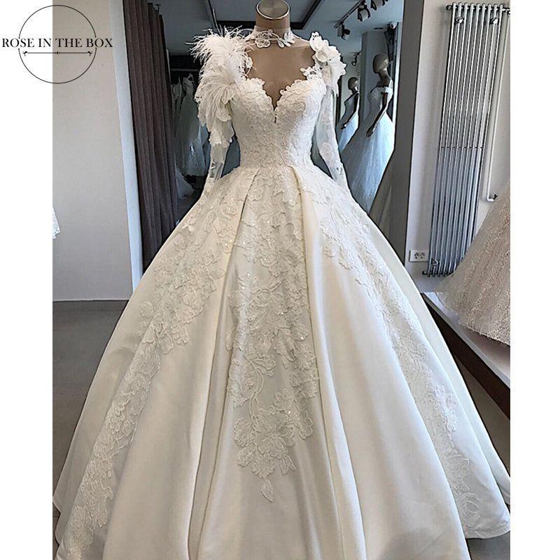 Vintage Satin Ballkleid Hochzeit Kleid Lange Hülse mit Federn High Neck Spitze Appliques Brautkleider Illusion Zurück Braut Kleid